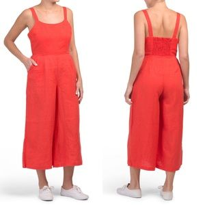 Cynthia Rowley Red Linen Wide Leg Jumpsuit